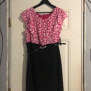 Cute dress! Pink with polka dots and black